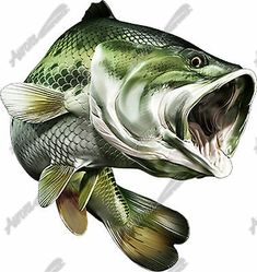 Large mouth bass fish hunting vinyl graphic decal Fly Fishing Camo River Big