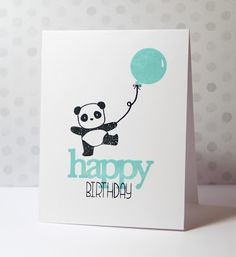 handmade birthday card using: CAS(E) this Sketch #161 ... dancing panda with a balloon ... one layer ... mixed font stamped greeting ...
