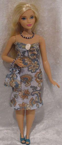 Handmade Clothes for Barbie Fashionistas CURVY dolls ~Dress, Purse, Necklace #02 #ESCHdesigns