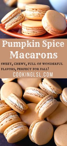 Pumpkin Spice Macarons Recipe – sweet, chewy, full of wonderful flavors, perfect for fall! Wine Recipes, Baking Recipes, Cookie Recipes, Dessert Recipes, Detox Recipes, Fall Recipes, French Macaroon Recipes, French Macaroons, Italian Macarons