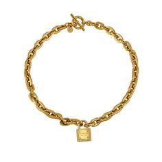 f09904dc0081 New  175 MICHAEL KORS Gold Tone Chain Link Toggle Padlock Necklace MKJ3325