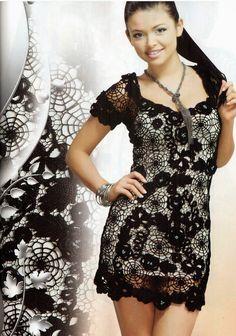 TRICO y CROCHET-madona-mía: Vestidos para mujeres a Crochet Ruso modelos algunos con Gráficos