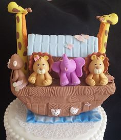 Noah's Ark with Baby Animals Cake Topper, Baby Shower Cake Topper , Decoration, Animals Ark Decorations , First Birthday Ark, Animals Centerpiece, Cake Toppers