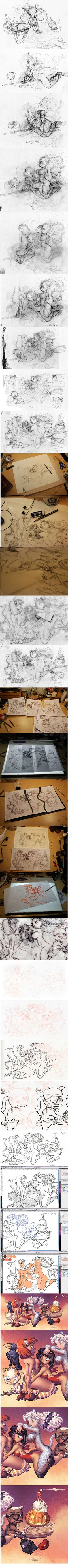 Chris Sanders tutorial.     http://floobynooby.blogspot.com.br/2012/02/chris-sanders-sketch-process.html