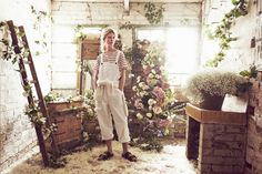 Cabbages & Roses White Dungarees
