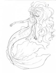 Mermaid line art by sharonearth.devia… on Mermaid line art by sharonearth. Mermaid Sketch, Mermaid Drawings, Mermaid Tattoos, Mermaid Tail Drawing, Mermaid Tails, Mermaid Artwork, Manga Mermaid, Mermaid Paintings, How To Draw Mermaid