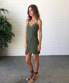 Khaki green wrap dress, gladiator sandals
