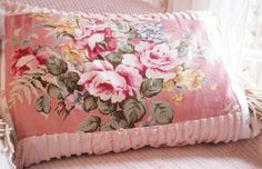 VINTAGE pink cabbage BARKCLOTH roses feather down shabby CHIC pillow bullion fringe