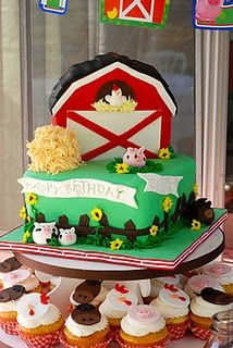Barnyard birthday party cake idea.  See more farm and birthday parties for kids on www.one-stop-party-ideas.com
