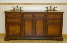 """72"""" Bathroom Furniture Baltic Brown Granite Top Double Sink Vanity Cabinet 716BB by HF Gallery. $1551.00. Countertop: Baltic Brown Granite Top; Storage: 4 Door(s) and 6 Drawer(s); Item Dimensions: 72""""W x 22""""D x 36""""H; Pre-drilled Faucet Hole: 8-inch widespread, 3 holes (1-1/8"""") - Faucet Sold Separately; Sink Type: Undermount Ivory Ceramic Sink. Bring uniqueness to any room with this elegant double sink vanity. Featuring its beautiful two tone brown finish, flat panel..."""