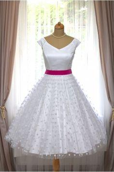 MILLA svatební retro šaty bílé s puntíky