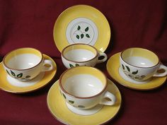 #Stangl Pottery USA Made 1950 Era Yellow brown Blueberry Set 4 cup and saucer(s) $59.99 make an offer and free shipping