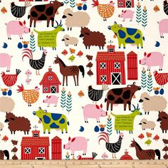 Alexander Henry In the Kitchen E-I-E-I-O Tea from @fabricdotcom  From the DeLeon Group for Alexander Henry, this cotton print fabric depicts a typical day on the farm sure to bring back memories! Perfect for quilting, apparel and home decor accents. Colors include white, black, brown, taupe, red, pink, burnt orange, orange and shades of green and blue.