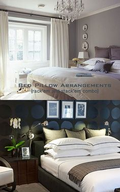 How to arrange bed pillows....great ides for any size bed