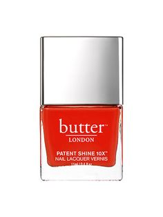 Butter London Patent Shine 10X Nail Lacquer in Smashing Butter London's new line of seven-free polishes, Patent Shine 10X, removes two more potential toxins from the ingredient list: ethyl tosylamide, a plasticizing agent that's banned in Europe, and xylene, a solvent that in large quantities is a known irritant. And this formula really knocks it out of the park. Two coats give you full, opaque coverage and a gel-like level of shine.