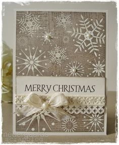 handmade Christmas card with white embossed snowflakes Merry Chistmas, Merry Christmas Greetings, Christmas Greeting Cards, Greeting Cards Handmade, Holiday Cards, Homemade Christmas Cards, Christmas Cards To Make, Homemade Cards, Handmade Christmas