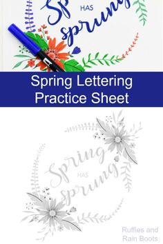 Get this free Spring hand lettering practice sheet in a fun bounce lettering style. It comes with a beautiful Spring bouquet design and is an instant download printable. #handlettering #bouncelettering #lettering #calligraphy #practicesheets #letteringpractice #Springlettering #spring #rufflesandrainboots Hand Lettering For Beginners, Hand Lettering Practice, Brush Lettering, Modern Calligraphy Tutorial, Hand Lettering Tutorial, Diy Blanket Ladder, Nice Handwriting, Monogram Letters, Things That Bounce