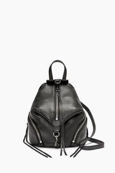 Rebecca Minkoff Convertible Mini Julian Backpack in Black Dog Clip, Convertible Backpack, Black Backpack, Pebbled Leather, Purses And Handbags, Mini, Rebecca Minkoff, Fashion Backpack, Crossbody Bag