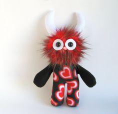 Stuffed Animal Monster Doll Black & Red & White Hearts Monster by Fluffy Flowers