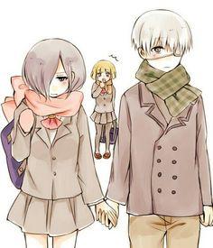 touka , kaneki and yoriko