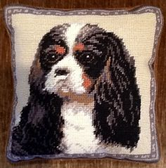 Needlepoint Pillow -  Tri-Color Cavalier King Charles Spaniel