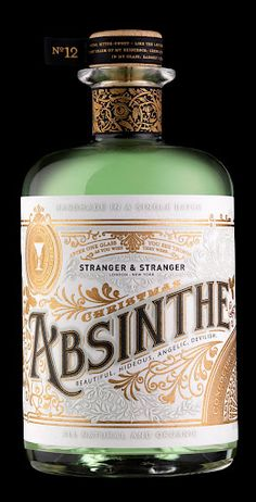 Limited edition bottle of Stranger Absinthe designed by Stranger & Stranger.