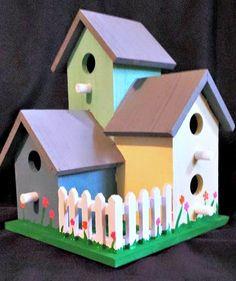 Hand Painted Birdhouse (Bird House Bird Feeder Trio)