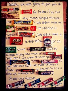 Candy Father's Day card. Thats the best one so far!