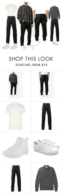 """Saint Laurent Wax Coated Slim-Fit Jeans"" by manonth on Polyvore featuring Yves Saint Laurent, River Island, NIKE, adidas, Brunello Cucinelli, men's fashion, menswear, jeans, saintlaurent en slim"