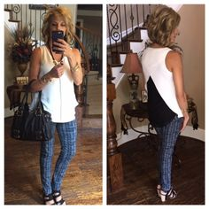 cabi Grid Skinny Jean and Domino Blouse.  These jeans are the bomb!!