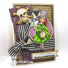 Fantastic #Halloween card on Cheryl Valadez' blog!! Image by #Stampendous, colored with Copics.