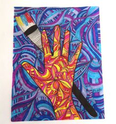 """Deaf Art - """"Hand of Deaf Artist"""" © Copyright Ashley Shaffer (www.etsy.com/shop/ashmariesha) Kid Art, Art For Kids, Deaf Art, Apraxia, Charity, Foundation, Symbols, Signs, Artist"""