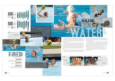 This is also an example of mortise because it shows related photos of swimmers in an overlapping fashion. I liked this solely because of the format and color. Yearbook Mods, Yearbook Staff, Yearbook Pages, Yearbook Spreads, Yearbook Covers, Yearbook Layouts, Yearbook Design, Yearbook Theme, Yearbook Ideas