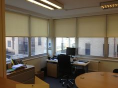 #Chelmsford #Office #Roller #Blinds Commercial Blinds, Fitted Blinds, Roller Blinds, Conference Room, Restaurant, Table, Furniture, Home Decor, Decoration Home