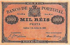 Portugal - 1000 Reis de 1891 do Banco de Portugal The Proclamation, Old Maps, Rare Coins, My Heritage, Coin Collecting, Old Pictures, Portuguese, Things To Come, Stamp