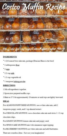 Costco Muffin Recipe!. Thank you to whoever first posted this - this tastes exactly like the muffins!!