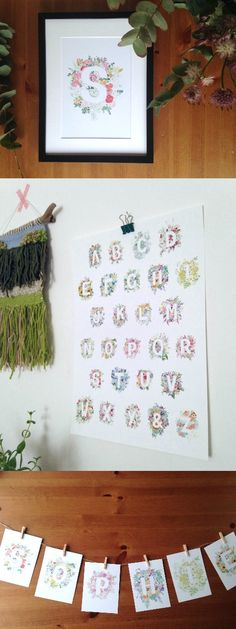 Such sweet floral alphabet letters, each print from a handpainted watercolour. Perfect for a nursery to celebrate a new baby or for a personal gift. The full collection has mini name garlands and individual letters as well as the whole A-Z print!