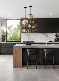 Modern kitchen design - The 39 Best Black Kitchens Kitchen Trends You Need To See – Modern kitchen design Luxury Kitchen Design, Interior Design Kitchen, Home Design, Design Design, Wall Design, Diy Interior, Coastal Interior, Modern Design, Interior Architecture