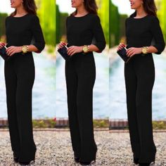 Sometimes all you need is a single color to complete a stunning and elegant look. A long sleeves jumpsuit with open back. This is made of cotton and polyester materials. Have this long jumpsuit and wa