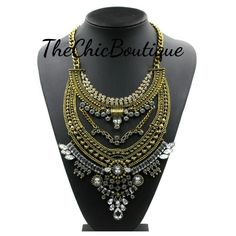 This is a beautiful antique gold necklace that will sure make a statement. This is a very stylish necklace.  Fast and free shipping | Shop this product here: http://spreesy.com/TheChicBoutique/48 | Shop all of our products at http://spreesy.com/TheChicBoutique    | Pinterest selling powered by Spreesy.com