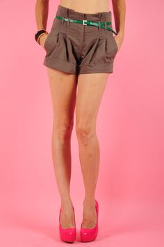 High Wasted   Girly High Waist Shorts with Fold Over Hem and Faux Leather Belt.   65% Polyester, 32% Cotton, 2% Spandex.  $38.62  www.ClassyChickClothingOnline.com