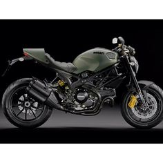The Ducati Monster Diesel Motorcycle  is based on Ducati's Monster 1100 EVO, and designed by Diesel's fashion stylists, led by company founder Renzo Rosso himself. The result is a powerful street bike that is as notable for its military-inspired green and matte black color scheme as it is for its fantastic performance.