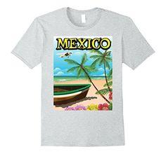 Mens Mexico Beach travel poster 2XL Heather Grey Nicks Em...