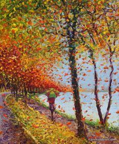 Emma Walks Lakeview by Iris Scott, finger painter. IrisScottPrints.com