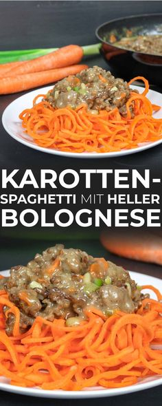 Karottenspaghetti mit heller Bolognese Soße (Low Carb Rezept) Spaghetti, Low Carb Recipes, Food And Drink, Vegan, Fresh, Ethnic Recipes, Health, Gastronomia, Salads