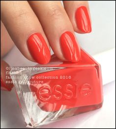 """Essie """"Flashed"""" polish/gel from its Gel Couture Fashion Show 2016 collection. Simmering electric poppy! Love!!!!"""