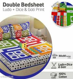 Bedsheets Comfy 100% Cotton Double Bedsheet with Dice and Goti Fabric: Bedsheet - 100% Cotton Pillow Cover - 100% Cotton  Size: Bedsheet (L x W) - 90 in X 90 in Pillow Cover (L x W) - 27 in X 18 in Description:  It Has 1 Piece Of Double Bedsheet With 2 Pillow Covers with 1 Dice and 16 Gottis Work: Printed Thread Count: 160 Country of Origin: India Sizes Available: Queen, King   Catalog Rating: ★4 (14688)  Catalog Name: Gorgeous Pure Cotton 90X90 Double Bedsheets Vol 65 CatalogID_1016244 C53-SC1101 Code: 914-6389648-099