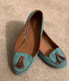 ee7b665e5 Womens sea foam green with brown tassels size 7.5 loafers flats  fashion   clothing