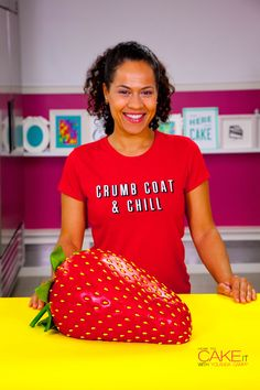 Let's be honest, a cake you gotta MATCH your clothes to means you KNOW it's good! Click the link to learn how I caked this GIANT Strawberry on HowToCakeIt.com!