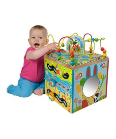 This cute cube has tons for curious young minds to explore! With every side bursting with activities, cuties delight in the spinning gears, curvy maze, peekaboo mirror and vibrant embellishments. This multi-sensory toy is a colorful treat for lively little ones as they develop invaluable skills.